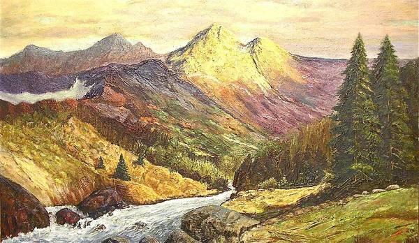 Mountains Art Print featuring the painting Rocky Mountains by Nicholas Minniti