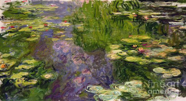 Nympheas; Water; Lily; Waterlily; Impressionist; Green; Purple Art Print featuring the painting Waterlilies by Claude Monet