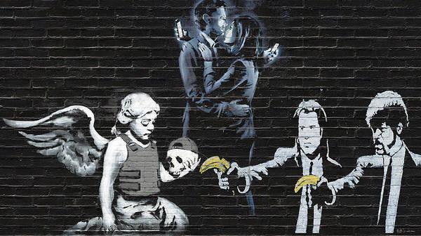 'urban Graffiti' By Serge Averbukh Art Print featuring the photograph Banksy - Failure To Communicate by Serge Averbukh