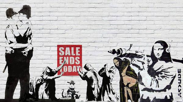�urban Graffiti� By Serge Averbukh Art Print featuring the photograph Banksy - Saints and Sinners  by Serge Averbukh