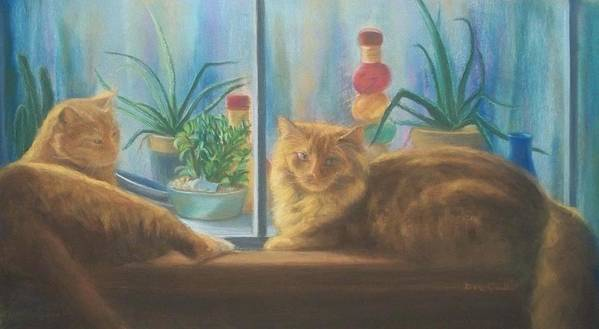 Cats Art Print featuring the painting Cats in the Window by Diane Caudle