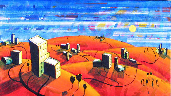 Landscape From Above Art Print featuring the painting Cities And Towns by Rollin Kocsis