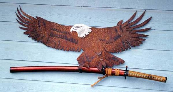 Steel Art Print featuring the sculpture Eagle SOLD  by Steve Mudge