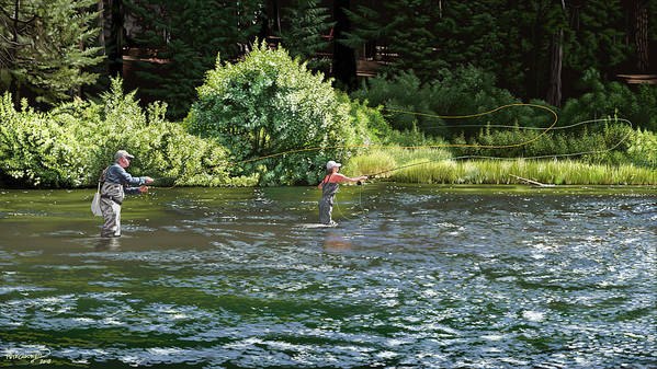 Fly Fishing Art Print featuring the digital art Father-daughter Date by Pete Chadwell