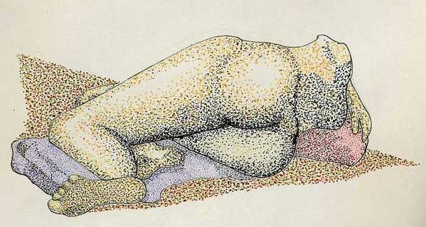 Figure Laying Down Art Print featuring the drawing Figure2.5 by M Brandl