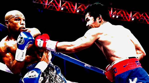 Manny Pacquiao Art Print featuring the mixed media Floyd Mayweather And Manny Pacquiao Going At It by Brian Reaves