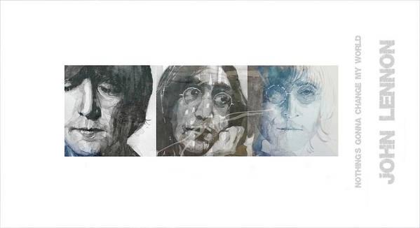 John Lennon Art Print featuring the mixed media John Lennon Triptych by Paul Lovering