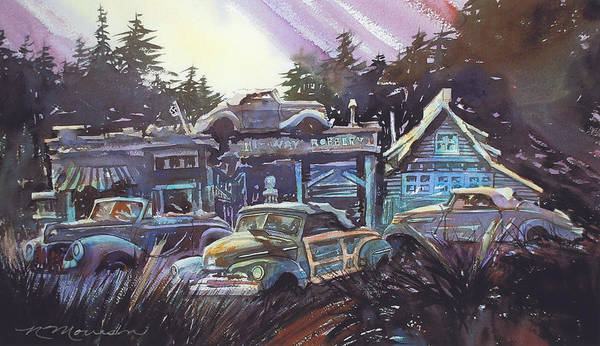 Ford Convertibles Art Print featuring the painting Moonlight Cabriolets by Ron Morrison