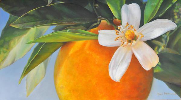 Floral Painting Art Print featuring the painting Orange en Fleurs by Muriel Dolemieux