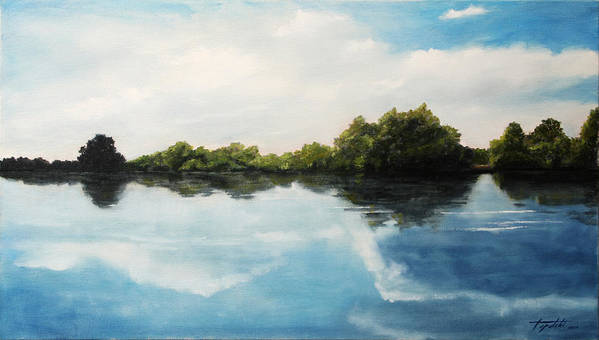 Landscape Art Print featuring the painting River of Dreams by Darko Topalski