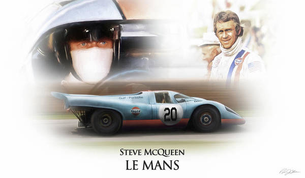 Steve McQueen Porsche Car Racing Poster Canvas Art Print