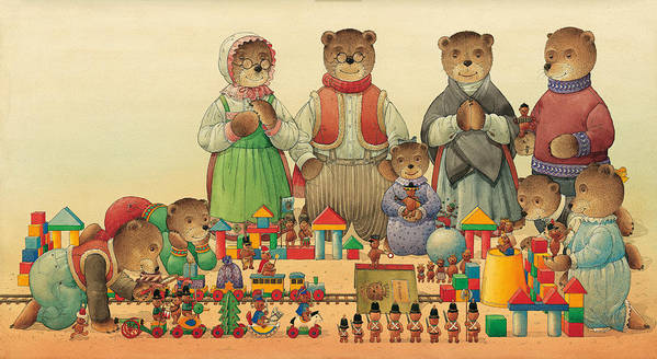 Christmas Greeting Cards Teddybear Art Print featuring the painting Teddybears and Bears Christmas by Kestutis Kasparavicius