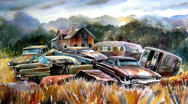 Old Wrecked Cars Art Print featuring the painting The Donor Cars by Ron Morrison