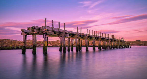 Old Bridge Art Print featuring the photograph The Old Bridge at Sunset by Roy McPeak