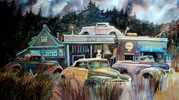 Stores Cars Trees Art Print featuring the painting The Trading Post by Ron Morrison