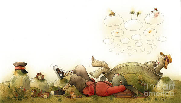 Green Landscape Sky Turtle Dream Rabbit Art Print featuring the painting Turtle and Rabbit06 by Kestutis Kasparavicius