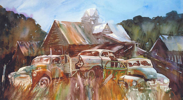 Chev Plymouth House Barn Art Print featuring the painting Up the Road a Bit by Ron Morrison