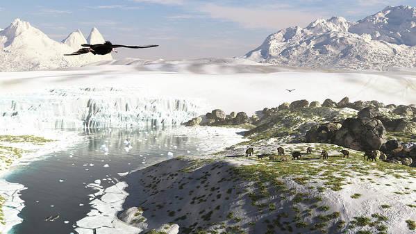 Prehistoric Era Art Print featuring the digital art A Receding Glacial Scene Circa 18,000 by Arthur Dorety/stocktrek Images