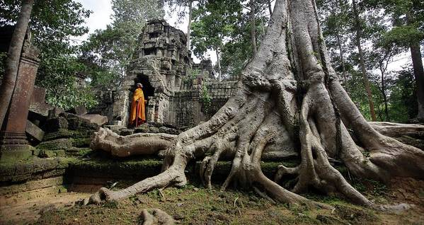 Orange Color Art Print featuring the photograph Buddhist Monk At Angkor Wat Temple by Timothy Allen