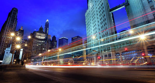 Chicago River Art Print featuring the photograph Bus Trails At Blue Hour by Chris Smith Www.outofchicago.com