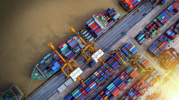 Working Art Print featuring the photograph Container Ship In Import Export by Thatree Thitivongvaroon