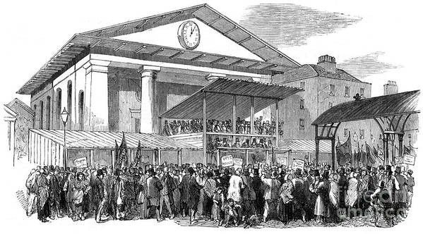 Engraving Art Print featuring the drawing Election Hustings In Covent Garden by Print Collector