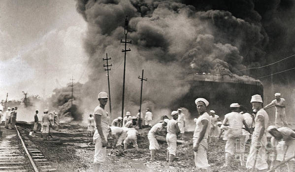 People Art Print featuring the photograph Fire In Oil Plant In Mexico by Bettmann