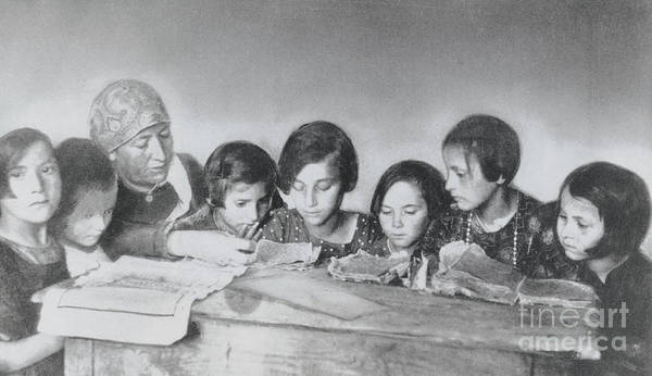 Education Art Print featuring the photograph Jewish Teacher With Her Girl Students by Bettmann