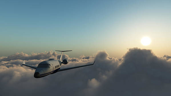 Mid-air Art Print featuring the photograph Learjet 60 Above The Clouds by Joelena