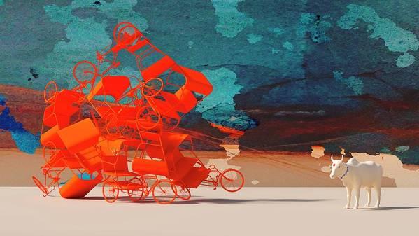 Rickshaw Art Print featuring the digital art Rickshaw Pileup and Cow by Heike Remy
