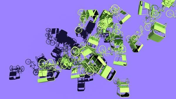 Rickshaw Art Print featuring the digital art Green Rickshaws Flying by Heike Remy