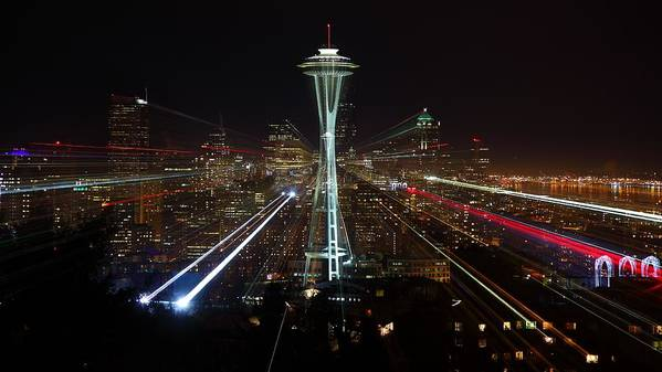 Laser Art Print featuring the photograph Seattle Skyline Laser Show by Jonkman Photography