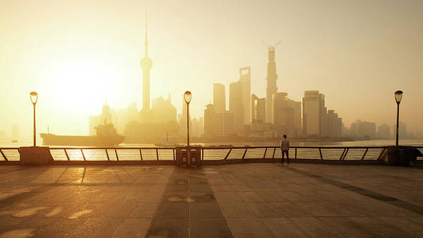 Tranquility Art Print featuring the photograph Shanghai Sunrise At Bund With Skyline by Spreephoto.de