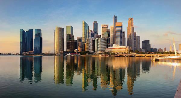 Financial District Art Print featuring the photograph Singapore Financial Skyline, Singapore by Travelpix Ltd