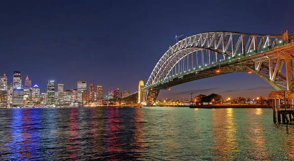 Built Structure Art Print featuring the photograph Sydney Harbor Bridge At Night, Sydney by Marco Simoni