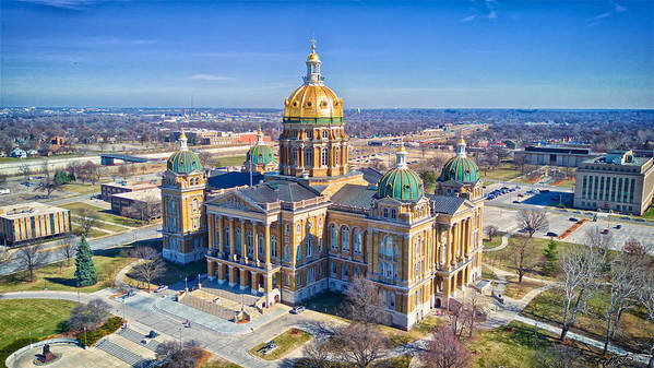 Built Structure Art Print featuring the photograph Aerial Of Iowa Capital March 4 2017 by Monte Goodyk