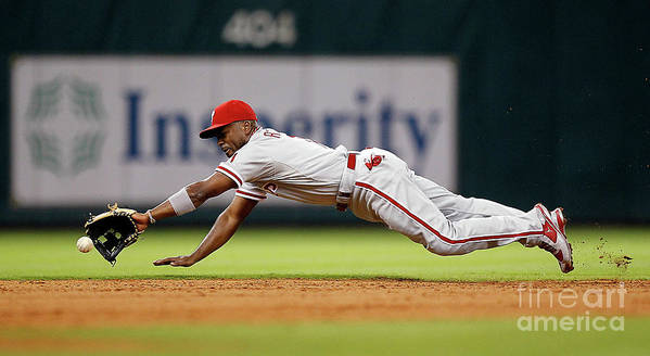 Sports Ball Art Print featuring the photograph Brett Myers and Jimmy Rollins by Bob Levey