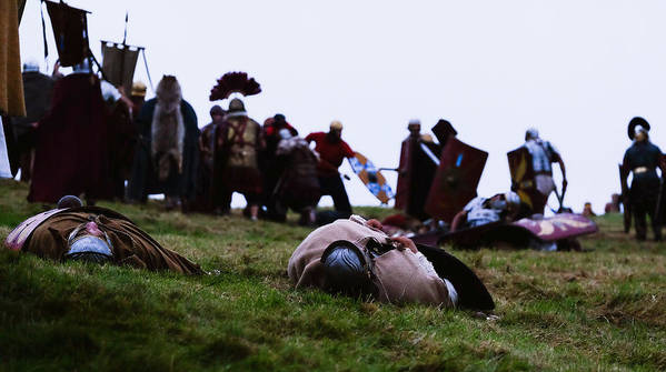 Event Art Print featuring the photograph Enthusiasts Re-enact Roman Times At Hadrian's Wall by Ian Forsyth