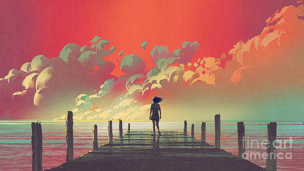 Illustration Art Print featuring the painting My Dream Place by Tithi Luadthong