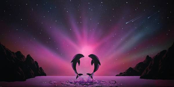 Aurora Borealis Art Print featuring the painting Aurora Borealis with two Dolphins by Thomas Kolendra