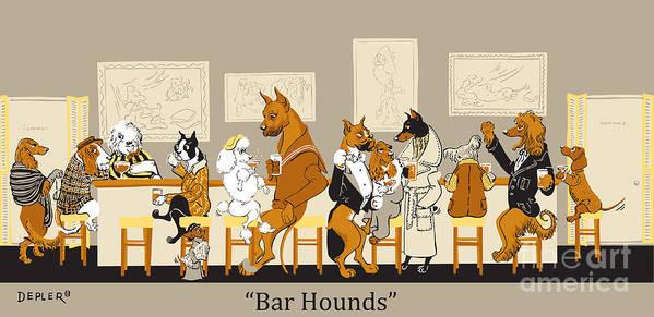 barhounds Art Print featuring the mixed media Bar Hounds by Constance Depler