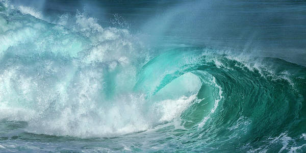 Panoramic Art Print featuring the photograph Barrel In The Surf by Simon Phelps Photography