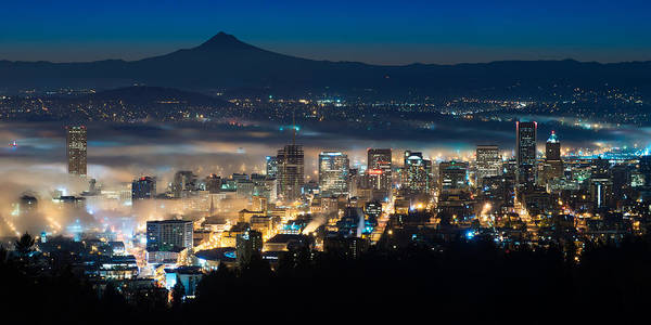 Portland Oregon Usa Downtown Before Sunrise Predawn Dawn Cityscape Landscape Fog Mt. Hood Horizontal Blue Hour Panorama Pano Art Print featuring the photograph Before Dawn by Patrick Campbell