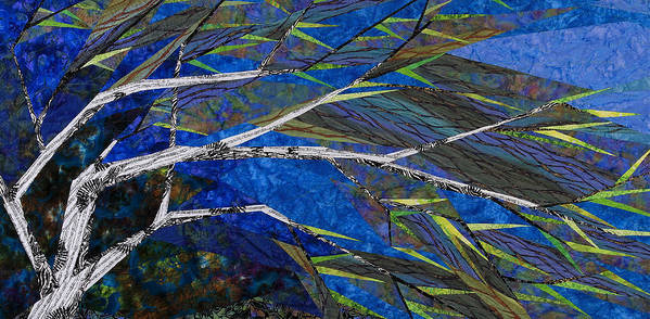 Tree Art Print featuring the tapestry - textile Bending Not Breaking by Linda Beach