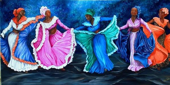 Caribbean Dance Art Print featuring the painting Caribbean Folk Dancers by Karin Dawn Kelshall- Best