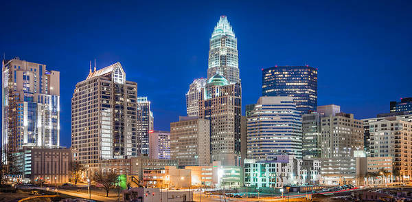 North Carolina Art Print featuring the photograph Charlotte Skyline by Sky Noir Photography by Bill Dickinson