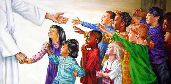 Jesus Art Print featuring the painting Children Coming to Jesus by John Lautermilch