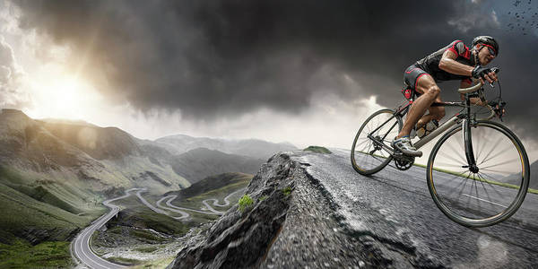 Sports Helmet Art Print featuring the photograph Cyclist Climbs To The Top by Peepo