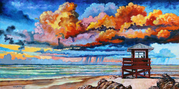 Ocean Art Print featuring the painting Dreaming of Siesta Key by John Lautermilch