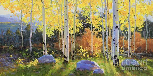 Oil Canvas Prints Contemporary Original Art Print featuring the painting Glowing Aspen by Gary Kim